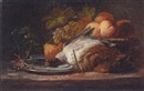 François Frédéric Grobon, Peaches, pears and grapes with two game birds in the foreground