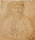 German School-Cologne (16), Portrait of a bearded man wearing a hat, his hands clasped in front