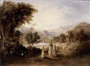 Circle Of Robert Scott Duncanson, Figures working in a river valley