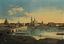 Karl Gottfried Traugott Faber, Dresden from the right bank of the Elbe below the August Bridge