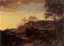 Attributed To Alexander van Gaelen, An extensive mountainous landscape with travellers on a path