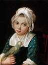 Attributed To Antoine Raspal, A young girl holding a green parrot