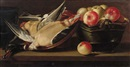 Follower Of Cornelis Jacobsz. Delff, Apples in a basket with a dead duck in an earthenware bowl on a wooden ledge
