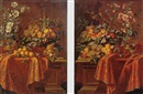 Pseudo Berentz, Still life of figs, peaches, grapes and flowers arranged on a draped pedestal