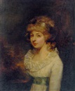 Thomas Stewart, Portrait of the Hon. Mary Wyndham Bouverie in a white dress, in a landscape