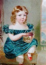 Reginald Easton, George Olaus Baillie of Leys Castle as a child with blond curls, wearing low-cut blue tartan dress with white lace trim