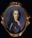 Jacques-Antoine Arlaud, Portrait of Prince James Francis Edward Stewart, the Old Pretender, in armour with red bordered breast plate