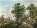 Jan van Limmen, A peasant watering cattle near a farmhouse, in a wooded landscape