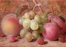 Charles Archer, Grapes, plums, raspberries, and a peach, on a mossy bank