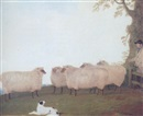 G. B. Newmarch, Shepherd and sheepdog with sheep in a field
