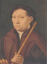 German School-Cologne (16), Portrait of a gentleman wearing a brown cape, green coat, white blouse, and black cap, holding a flute