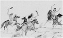 Percy Tsiste Sandy, Three mounted Zuni warriors hunting