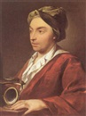 Follower Of Domenico Corvi, Portrait of a gentleman, holding a microscope