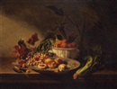 Charles Eugène David, Still life with fruits and vegetables