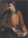 Follower Of Cristofano di Papi dell' Altissimo, Portrait of Boccaccio holding a copy of the Decameron