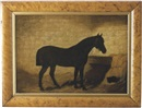 Arthur Batt, Portrait of a horse in his stall with black cat nestled in the hay beside him