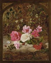 Charles Archer, Camelias and rhododendrons, on a mossy bank