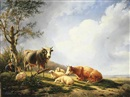 Carl Hagenbeeck, Resting sheep and cattle with their neatherder