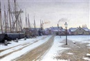Valdemar Albertsen, A winter evening by the docks