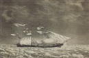 "Fitz Henry Lane, Steam packet ship ""Mass."" in a squall, Nov. 10, 1845"