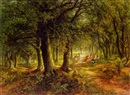 Frederick John Railton, Woodland scene with figures