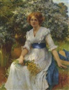 W. Savage Cooper, An elegant lady in a garden