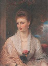 Reginald Easton, A lady wearing décolleté white dress with frilled collar, silk tasselled shawl, pearl necklace and drop pearl earring, her hair upswept in a plait