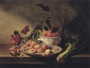 Charles Eugène David, Still life with fruit and vegetables