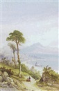 Edwin St. John, Figures on the hillside off the bay of Naples