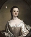 Henry Pickering, Portrait of Susannah Holt, wife of John Chadwick of Healey, in a white dress with a pale blue wrap