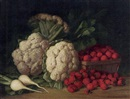 Peter Baumgras, Still life of cauliflower, strawberries and turnips