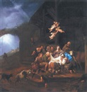 François Verwilt, The Adoration of the Shepherds, with the Annunciation to the Shepherds on a hillside beyond