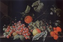 Cornelis de Bryer, A still life with grapes, a tangerine, an apple, prunes and apricots, all on a stone ledge