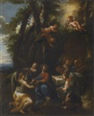 Italian School-Genoa (18), Christ with Angels before a Meal