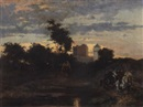 Emile Wauters, A view of a medieval castle with figures at dusk