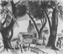Bernard Gussow, House and wooded landscape
