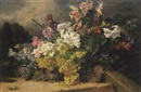 Martha Darley Mutrie, Still life of flowers and grapes on a ledge