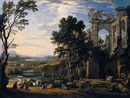Pierre Patel, A classical landscape with drovers and animals resting on the banks of a river before a set of ruins, animals and figures crossing a bridge beyond