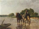 Emile Jacque, Working horses pausing for a drink in a river