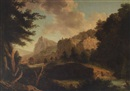 Circle Of Carlo Labruzzi, A rocky river landscape with a figure in a boat, a hilltop ruin and a view to a village beyond
