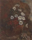 J. van Aelst, Convulvulus and geraniums in a terracotta plant pot, aside passion flowers and other blooms in a summer garden