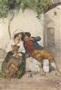 Guiseppe Riva, A young couple seated in a village square in regional dress