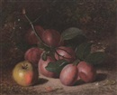 Charles Archer, Plums and an apple, on a mossy bank