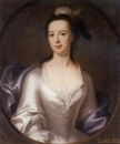 John Theodore Heins Sr., Portrait of Lucy, Lady Gage, daughter of William Knight, in an oyster satin dress and blue wrap, with a feathered headdress