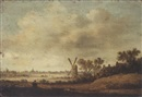 Circle Of Maerten Fransz van der Hulst, An extensive river landscape with a windmill and houses in the foreground