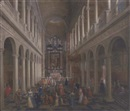 Attributed To Wilhelm Schubert van Ehrenberg, The interior of St. Charles Borromeo, Antwerp, with elegant company