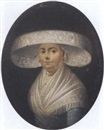 German School-Frankfurt (18), Portrait of a lady in a blue dress, a white shawl and a hat