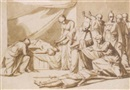 Vincenzo Camuccini, Roman senators and women discovering two corpses, soldiers arresting the murderers to the right