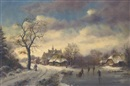 Stephen de Haan, Skaters at a Dutch riverside hamlet in winter
