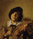 Follower Of Frans Hals the Elder, Boy playing a violin